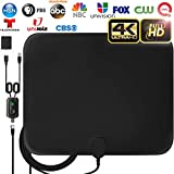 [Latest 2019] Amplified HD Digital TV Antenna Long 120 Miles Range - Support 4K 1080p Fire tv Stick and All Older TV's Indoor Powerful HDTV Amplifier Signal Booster - 18ft Coax Cable/AC Adapter