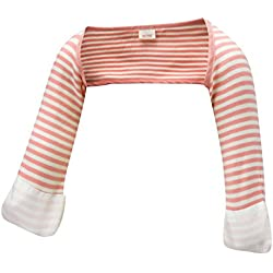 ScratchSleeves   Baby Girls' Stay-On Scratch Mitts Stripes   Pink and Cream   6 to 9 Months