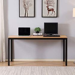 """AUXLEY Computer Desk for Home Study, Waterproof and Anti-Scratch Double Deck Wood and Metal Office Table, 55"""", Teak"""
