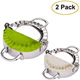 Stainless Steel Dumpling Ravioli Maker Empanada Press, AUAM 2 Pack Pierogi Mold - Wonton Mould, Easy-tool for Dumpling Wrapper Dough Stamp Cutter Pastry Pie Making (Small 3 inch, Large 3.75 inch)