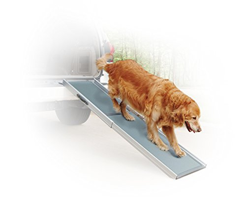 PetSafe Solvit Deluxe Telescoping Pet Ramp, Standard, 39 in. - 72 in., Portable Lightweight Aluminum Dog