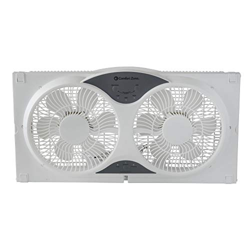 Comfort Zone Twin Window Fan with Remote | 3 Speed, High Velocity, Dual  Blade Fans