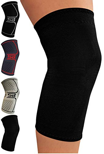 SB SOX Compression Knee Brace for Knee Pain - Braces and Supports Knee for Pain Relief, Meniscus Tear, Arthritis, Injury, Running, Joint Pain, Support (Medium, Solid - Black)