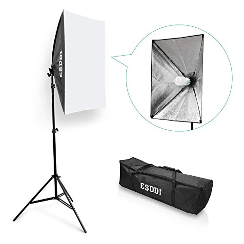 "ESDDI Softbox – 20""x28"" Photography Lighting Professional Photo Studio Equipment with 85W E27 Socket 5500K Video Light Bulb for Filming Portraits Shoot"