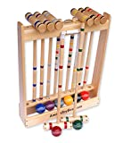 Amish-Crafted Deluxe 8-Player Croquet Game Set, Maple Hardwood (Four 28' Handles/Four 32' Handles)