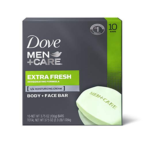 Dove Men+Care 3 in 1 Bar To Clean and Hydrate Skin Extra Fresh More Moisturizing Than Bar Soap 3.75 oz 10 Bars 3