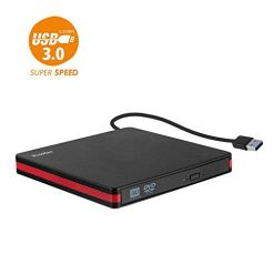 Rioddas External CD Drive, USB 3.0 Portable CD/Dvd +/-Rw Drive Slim Dvd/CD Rom Rewriter Burner For Laptop Desktop Pc Windows 10/8/XP and Linux Os Apple Mac Macbook Pro