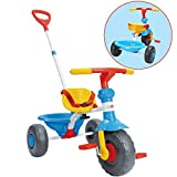 ChromeWheels Kids' Tricycle, with Pushing Handle and Grow-with Seat for 1-3 Years Old Toddler,Blue