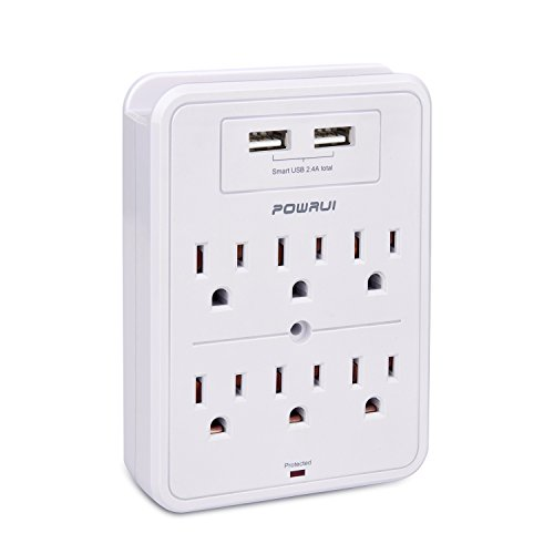 Surge Protector, POWRUI USB Wall Charger with 2 USB charging ports(smart 2.4A Total), 6-Outlet Extender and Top Phone Holder for Your Cell Phone, White, ETL Certified