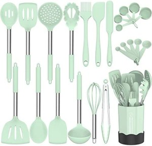 Silicone Cooking Utensil Set, Fungun Non-stick Kitchen Utensil 24 Pcs Cooking Utensils Set, Heat Resistant Cookware, Silicone Kitchen Tools Gift with Stainless Steel Handle (Green-24pcs)