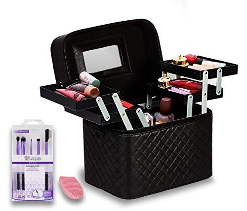Shadesnbases Women's Professional Cosmetics Nail Beauty Makeup Kit Storage Organizer Box,Vanity Case For Train,Travel, Bridal Gift (Black)