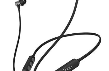 pTron Bassfest Plus Magnetic in-Ear Bluetooth 5.0 Wireless Headphones, Stereo Sound with Bass, IPX4 Water & Sweat Resistant, Voice Assistance, Ergonomic & Lightweight, Built-in Mic – (Black & Grey)