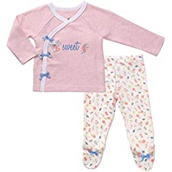 Preemie Clothes Footed Pants Long Sleeve Kimono Shirt Girl Layette Set Premature Heather Pink