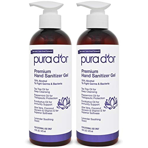 PURA D'OR Hand Sanitizer Gel LAVENDER Scent 2 PACK-16oz = 32ouncesTotal. 70% Alcohol Kills 99% Germs w/Aloe Vera, Tea Tree: Waterless Deep Cleaning Moisturizing System Soothes, Fights Germs & Micro organism