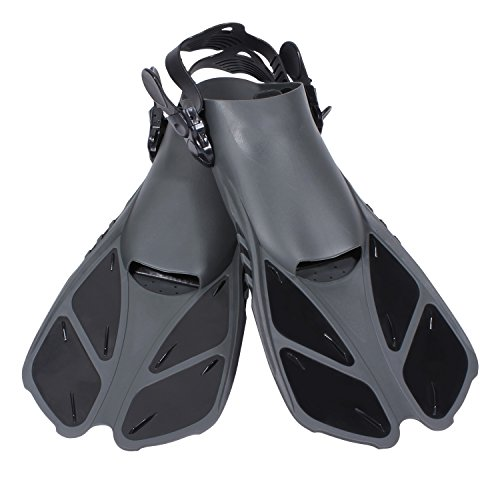 CAPAS Snorkel Fins, Snorkeling Fins Swim Fin Short Adjustable Diving Fins for Adult Men Womens Kids Scuba Diving Swimming Duck Feet Swim Travel Open Heel Flippers Snorkelling Fins (Black, L/XL)