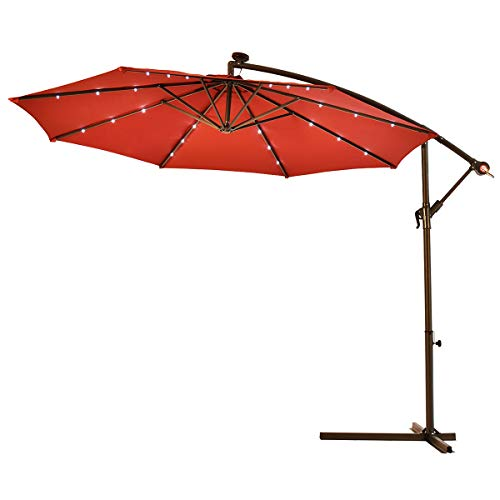 Tangkula 10FT Outdoor Patio Umbrella Solar LED Lighted Sun Shade Market Umbrella with Hanging Cover and Cross Base (Burgundy)