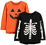 Simple Joys by Carter's Girls' Toddler 2-Pack Halloween Long-Sleeve Tees, Pumpkin/Skeleton, 3T