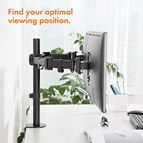 "41 BI%2BrPjNL - VonHaus Dual Monitor Mount for 13-27"" Screens - Double Arm Desk Stand Bracket with Clamp - Ergonomic 90° Tilt, 360° Rotation & Twin 180° Swivel Arms - VESA Dimensions: 75x75-100x100"