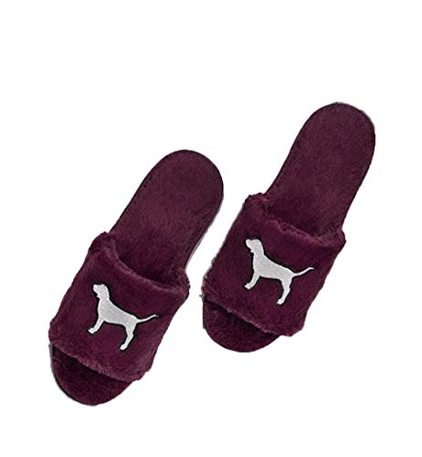 Victoria's Secret Pink Bling Fuzzy Maroon Slippers L/G
