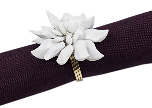 Fennco Styles Crystal Design Collection Napkin Ring - Set of 4 (White Flower)