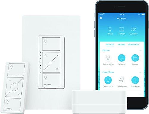 Lutron Caseta Wireless Smart Lighting Dimmer Switch Starter Kit, P-BDG-PKG1W, Works with Alexa, Apple HomeKit, and the Google Assistant
