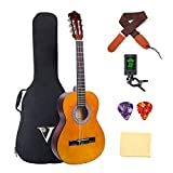 Classical Guitar 3/4 Size 36 inch Kids Guitar Acoustic Guitar for Beginners 6 Nylon Strings Guitar Starter Kits with Waterproof Bag Guitar Clip Tuner Strap Picks Wipe