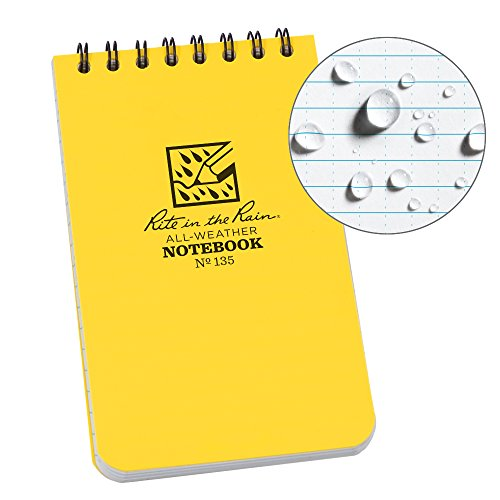 Rite in the Rain 135L All-Weather Top-Spiral Notebook, 3' x 5', Yellow Cover, Universal Pattern (No. 135)