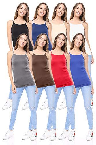 Free to Live 8 Pack Women's Premium Seamless Basic Layering Camis Tank Tops
