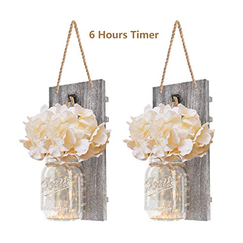 DOGAR Premium Mason Jar Lights - Sconces Wall Décor - Rustic Home Décor with Fairy LED Lights 6 Hours Timer - Silk Hydrangea - Home Kitchen Decoration Wall Sconces Set of 2