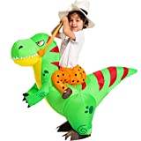 Spooktacular Creations Halloween Inflatable Costume Ride a T-rex Dinosaur Air Blow-up Deluxe Halloween Costume - Child (4-6 Yrs) Green