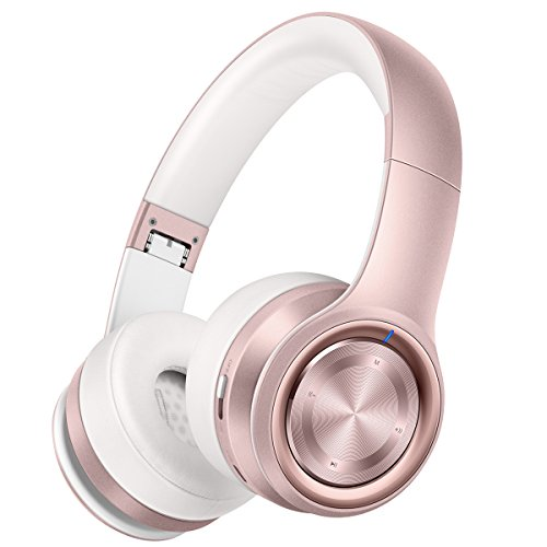 Picun P26 Bluetooth Headphones Over Ear 30H Playtime Hi-Fi Stereo Wireless Headphones Girl Deep Bass Foldable Wired/Wireless/TF for Phone/TV Bluetooth 4.1 Wireless Earphones with Mic Women (Rose Gold)