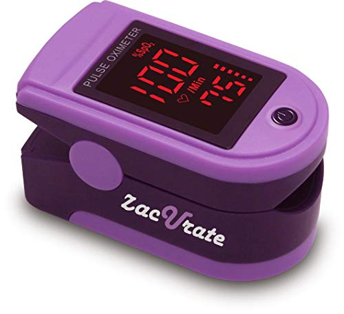 Zacurate Pro Series 500DL Fingertip Pulse Oximeter Blood Oxygen Saturation Monitor with Silicon Cover, Batteries & Lanyard (Mystic Purple)