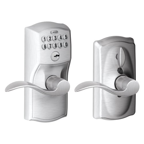 Schlage FE595 CAM 626 Acc Camelot Keypad Entry with Flex-Lock and Accent Levers, Brushed Chrome