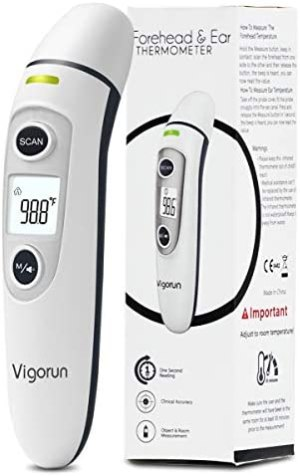【New Version】Vigorun Medical Forehead and Ear Thermometer, Digital Infrared Temporal Thermometer for Fever, Instant Accurate Reading for Baby Kids and Adults Baby and Adults