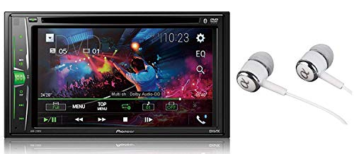 Pioneer in-Dash Double DIN 6.2' WVGA Display Built-in Bluetooth Multimedia DVD CD MP3 USB AM/FM Touchscreen Dual Phone Connection Car Stereo Receiver/Free ALPHASONIK Earbuds