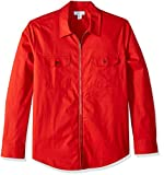 Calvin Klein Men's Lightweight Zip Up Weekend Layered Sweater, Blood Orange, X-Large