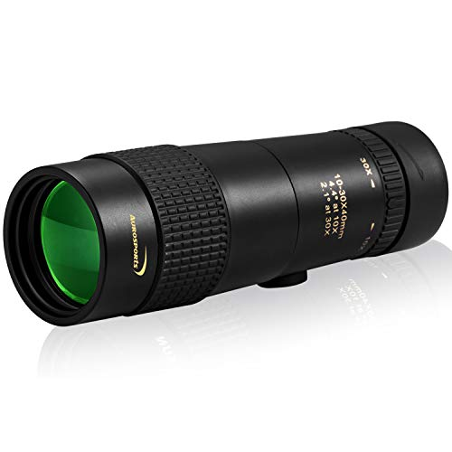 Aurosports 10-30x40 Zoom Monocular with BAK4 Prism Dual Focus High Power Compact Waterproof Telescope Fit Adults for Hiking Hunting Camping Bird Watching Best Gifts for Men