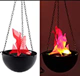 Flame Light Artificial Fake Fire Simulation Flame Hanging Electronic Brazier Lamp for Party Stage Halloween Christmas Decor Lighting (30cm)