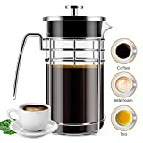 French Press Coffee Maker, ( 8 Cups/ 34 oz) Durable Easy Clean Coffee Pot Heat Resistant Borosilicate Glass - 100% BPA Free
