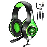 TURN RAISE 3.5mm Stereo Gaming Headset for PS4, PC, Xbox One Controller, Noise Cancelling Over Ear Headphones with Mic, LED Light, Bass Surround, Soft Memory Earmuffs for PC, Laptop,Tablet,Smartphones