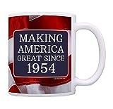 65th Birthday Gifts Making America Great Since 1954 Funny 65th Birthday Party Supplies 65th Birthday Gag Gift Coffee Mug Tea Cup USA Flag