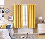 FengChang Velvet Curtains Yellow 63 INCH Soft Luxury Yellow Window Blackout Curtains Drapes Grommet 2 Panels (Yellow, L52'' X W63'')
