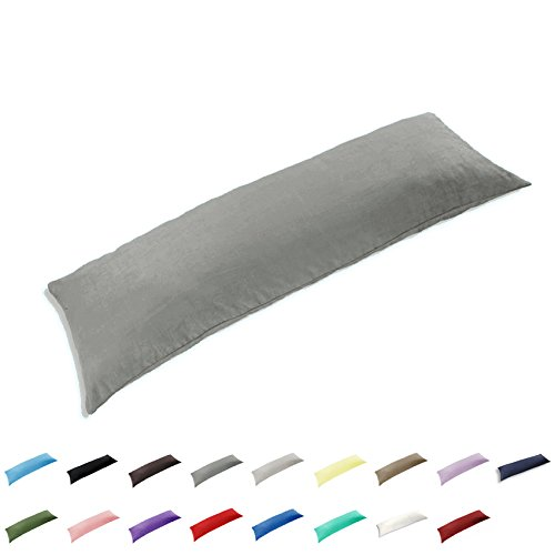 TAOSON 100% Cotton 300 Thread Count Body Pillow Cover Pillowcase Pillow Protector Cushion Cover with Zippers Only Cover No Insert (Dark Grey,21'x54')