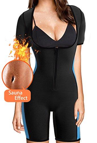 BRABIC Women's Full Body Shaper Sport Sweat Neoprene Suit,Waist Trainer Bodysuit for Weight Loss (L, Black Neoprene Suit Women)