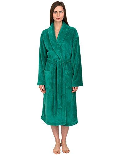 TowelSelections Women's Super Soft Plush Bathrobe Fleece Spa Robe X-Small/Small Green Lake