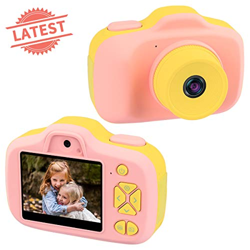 Joytrip Kids Video Camera for Girls Gifts HD 2.3 Inches Screen 8MP Kids Digital Cameras Shockproof Children Selfie Toy Camera Mini Child Camcorder for Age 3-10 with Safe Material (Pink-Yellow)