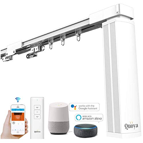 Quoya-Smart-Curtains-System-Electric-Curtain-Track-with-Automated-RailMotorized-and-Adjustable-TracksRodPole-up-to-32-metres-283-inchesQuoya-WiFi-Motor-compatible-with-Alexa