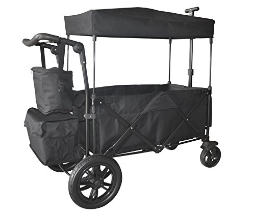 BLACK PUSH AND PULL HANDLE WITH REAR FOOT BRAKE FOLDING STROLLER WAGON W/ CANOPY OUTDOOR SPORT COLLAPSIBLE BABY TROLLEY GARDEN UTILITY SHOPPING TRAVEL CARTFREE CARRYING BAG - EASY SETUP NO TOOL NEED