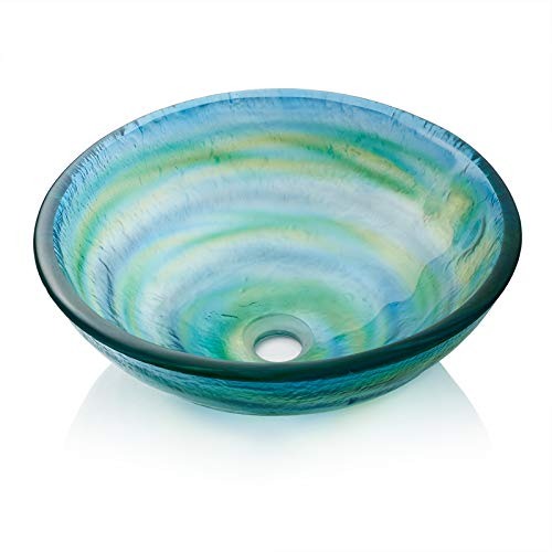 Miligore Modern Glass Vessel Sink - Above Counter Bathroom Vanity Basin Bowl - Round Blue & Green