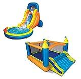 BANZAI Fun 2 in 1 Combo Pack Splash Blast Lagoon and Super Slide 'N Bouncer